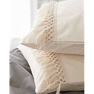 Tassel Sham Set Cotton Pillow Covers,18.9in x29.1in,Set of 2
