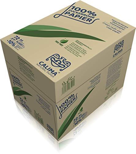 CALIMA NATURAL PAPER - Papel fotocopia, sin blanquear, 100% caña de azúcar, sostenible, DIN A4 72 g/m2, color natural, 2500 hojas = 5 paquetes de 500 hojas), reciclado, 4260581985011