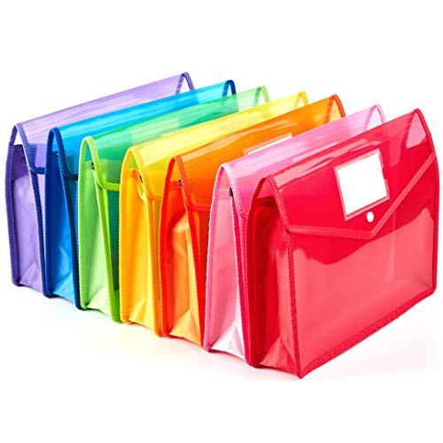 """7 Pack A4 Plastic Wallet Folder Envelopes with Closure and Label Pocket, 2.8"""" Expansion, Letter Size, Clear Poly File Folders Holder Documents Organizer Expandable for School Home Work Office"""