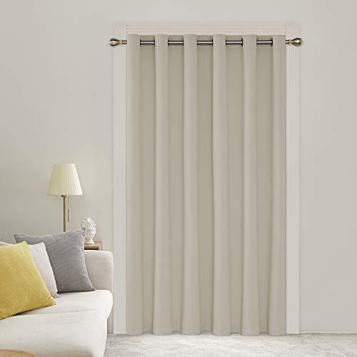 Deconovo Fenstervorhang mit breiter Breite, wärmeisoliert, Verdunkelungsvorhang für Kinderzimmer, 203 x 213 cm, Hellbeige