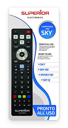 Superior SKY Replacement - Telecomando di ricambio universale compatibile con i decoder SKY, My SKY, My SKY HD, SKY Q - Pronto all uso non richiede programmazione