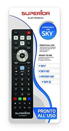Superior SKY Replacement - Telecomando di ricambio universale compatibile con i decoder SKY, My SKY, My SKY HD, SKY Q - Pronto all'uso non richiede programmazione