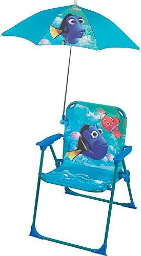 Fun House Dory Chaise Pliante avec Parasol pour Enfant, Acier, Bleu, 38x8x50 cm