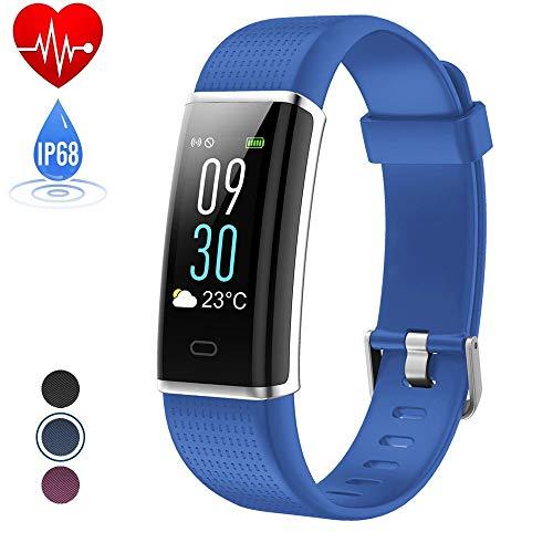 HETP Fitness Armband mit Pulsmesser, Fitness Armband pulsmesser Armband, IP68 Wasserdicht Smart Aktivitätstracker Schrittzähler Kalorienzähler Sport Uhr Fitness Uhr für iOS und Android Smartphone