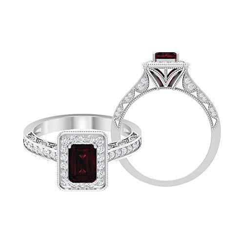 Rosec Jewels - Anillo solitario de diamante negro con forma octogonal de 7 x 5 mm, anillo de diamante de halo de 1/2 quilates, 14K Oro blanco, Diamante negro creado en laboratorio, Size:US 62