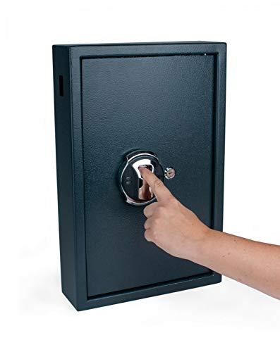 Onwiga Pora Schlüsselkasten Outdoor + Fingerabdruck+ elektr. Schloss Schlüsselschrank Tresor (Fingerprint 50 Haken, Grauschwarz)