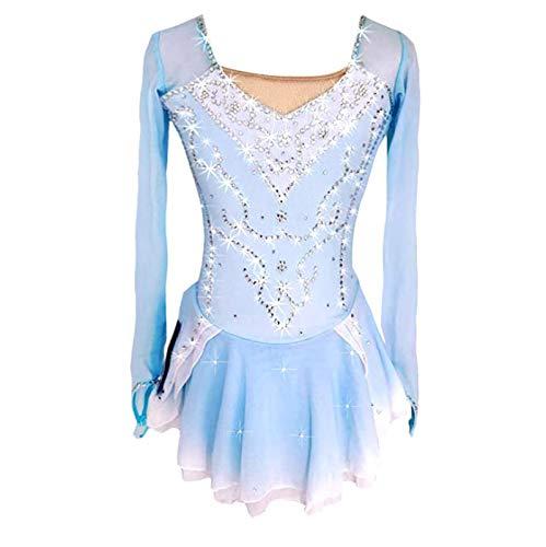 GUIOB Vestido De Patinaje Artístico Chicas Mujeres Vestidos De Baile Maillot De Gimnasia Rítmica Trajes De Rendimiento De Competición,Blue-Child12