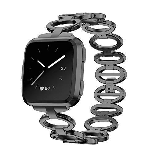 XIALEY Pulseras Compatible para Fitbit Versa 2 / Fitbit Versa Correa De Acero Inoxidable Mujeres Niñas Metal Loop Watch Banda Reemplazo Brazaletes Deportiva Repuesto,Negro