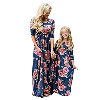 Mommy and Me Dresses Casual Floral Family Outfits Summer Matching Flower Maxi Long Dress Sundress  Mom XL Blue Dress