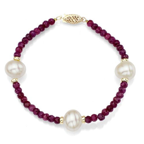 La Regis Jewelry 14k Yellow Gold 9-9.5mm White Freshwater Cultured Pearl 4mm Simulated Red Ruby Bracelet, 7.25'
