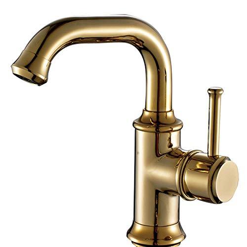 VZJSLT Moderne waterkraan, retro-waterkraan, 360 graden draaibaar, roestvrij staal, waterkraan, eenhands-waterkraan, keukenkraan, badkamer, waterkraan, messing, goudkleurig, roterende wastafelarmatuur