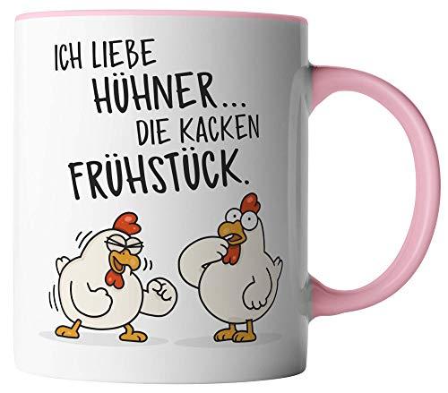 vanVerden Tasse - Ich liebe Hühner. Die kacken Frühstück - beidseitig Bedruckt - Geschenk Idee Kaffeetassen, Tassenfarbe:Weiß/Rosa