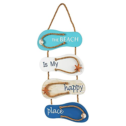 The Beach is My Happy Place Themed Flip Flop Hanging Wall Sign Ornament for Home, Bathroom Decor (9 x 3 inches)