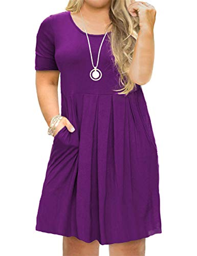 Tralilbee Women's Plus Size Casual T-Shirt Swing Dress with Pockets Purple 2XL
