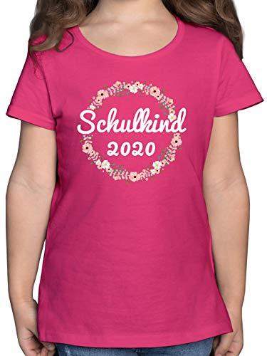 Einschulung und Schulanfang - Schulkind 2020 Blumenkranz - 140 (9/11 Jahre) - Fuchsia - Schulkind Shirt Maedchen - F131K - Mädchen Kinder T-Shirt