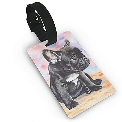 Etiquetas de Equipaje, Negro, inocente, Lindo, Bulldog francés, Impreso, PVC, Etiqueta de Nombre, Maleta de Viaje, identificador, Etiquetas de identificación, Etiqueta de Equipaje Duradera