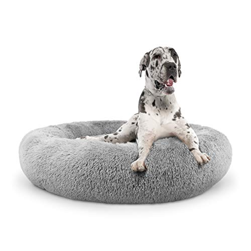 The Dog's Bed Sound Sleep Donut Dog Bed, XXL Silver Grey Plush Removable Cover Calming Nest Bed