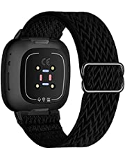 UHKZ Stretchy Nylon Bands Compatible with Fitbit Versa 3/Fitbit Sense for Women Men,Adjustable Breathable Fabric Sport Elastic Wristband for Fitbit Versa Smart Watch,Marine Green