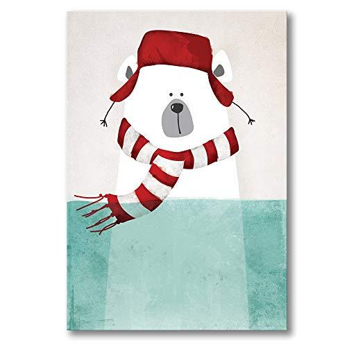 Canvas afbeelding, eenvoudige Nordic cartoon een hoed dragen, ijsberen, decoratief schilderen, poster afdrukken huisinrichting geen frame, voor woonkamer, hal, slaapkamer, hotel, villa, cafe, kinderkamer 60×80cm