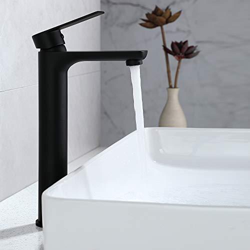 Grifo alto negro DUTRIX para grifería de baño y lavabo, grifo con control de agua fría y caliente, grifo cromado de mango alto