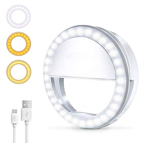 Selfie Ring Light 450mAh Rechargeable Portable Clip-on Ring Light 64 LED Circle Light with 3 Light Modes for iPhone/Android Smart Phone Photography iPad Laptop Livestream Video Lighting Makeup