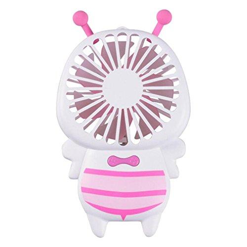 Juleya Petit Ventilateur USB Bee - Mini Ventilateur de Poche avec LED Night Light Portable Accueil extérieur Camping Concert Ventilateur de Refroidissement