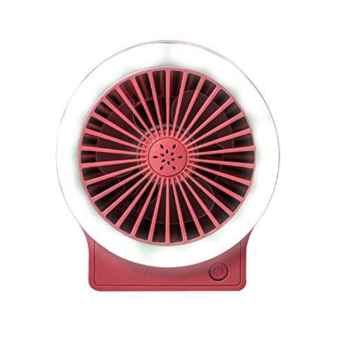 LIDABAO Ventilador de tres engranajes con lámpara USB, resistente al viento, plegable, para chicas estudiantes.
