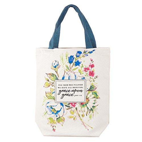 Grace Upon Grace Fashion Canvas Tote Bag in White - John 1:16
