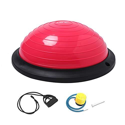 ISE Balance Trainer Balance Ball Ø 46 cm, equipo de fitness con cuerdas elásticas y bomba, yoga pilates ejercicio fitness, máx. 150 kg, SY-BAS1003 (rojo)