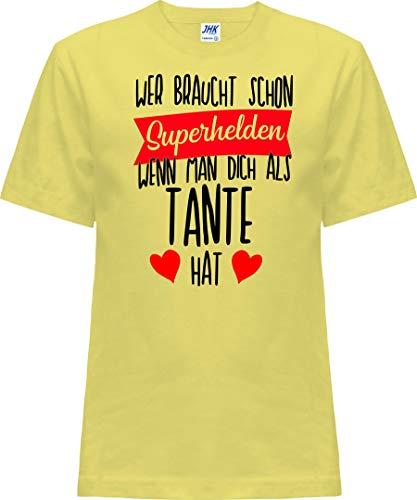 Kleckerliese T-shirt à manches courtes pour enfant Motif Nicki avec motif qui a besoin de super-héros quand on vous a le sentiment de tante - Jaune - 0 ans