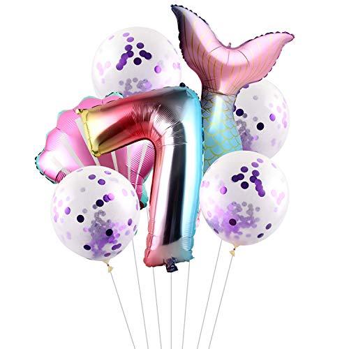 Esportic Juego de Globos de Cola de Sirena(7 unidades), Foil Globo Número0-9 Años, Sirena Decoración de Cumpleaños,Decoración de Fiesta de Sirena, látex globo, Globo de Cumpleaños Fiesta Decoración