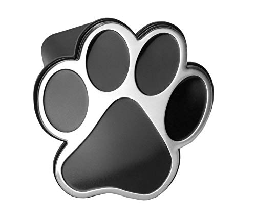 LFPartS Dog Animal Paw Foot Emblem Metal Trailer Hitch Cover (Fit 2' Receivers, Chrome & Black)