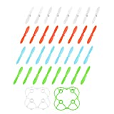 uxcell RC Propellers Mini Rotor CW CCW 4 Color 8 Set + 2 Guard Covers for Cheerson Only CX-10 Quadcopter
