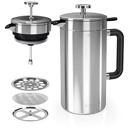 Navaris Caffettiera a Pistone - Pressa Francese per tè caffè con Doppia Parete in Acciaio Inox - Teiera con Filtri per 1L infusi - Manico Plastica