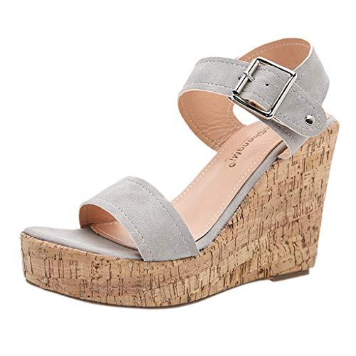 Damen Sandalen Riemchensandale Keilsandalen Plateausandalen Plateauschuhe Wedge Platform Slingback Peep Toe Sommer Sandals Freizeitschuhe(1-Grau/Gray,41) 800