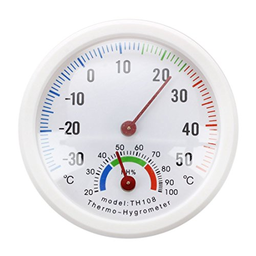 Thermometre hygrometre aiguille Cadran rond TESTEUR exterieur interieur blanc