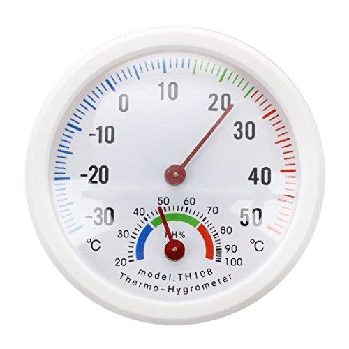 Bestlymood Termometro igrometro ago quadrante rotondo TESTER interno bianco esterno