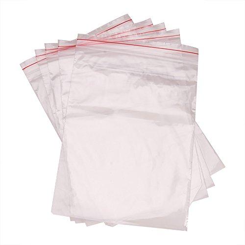 PandaHall 100 x Bustine di Plastica Trasparenti con Chiusura Zip 17x25cm Busta Confezione, 0.04mm di Spessore