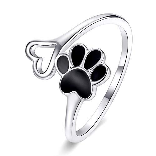DOYIS Anillo de Plata de Ley 925 con diseño de Huella de Pata para Perro, Gato, Anillo Ajustable para Mascotas, joyería de Regalo para Mujeres y niñas