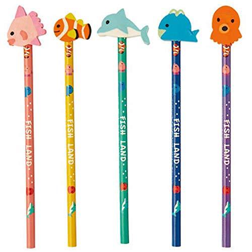 HOJ40-80【フィッシュランド/消しゴム付鉛筆】 【100本セット】魚 海 まとめ買い