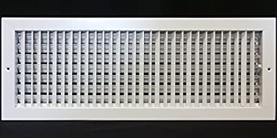"18"" X 4"" Adjustable AIR Supply Diffuser - HVAC Vent Cover Sidewall or Ceiling - Grille Register - High Airflow - White [Outer Dimensions: 19.75""w X 5.75""h]"