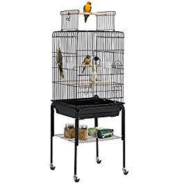 Yaheetech 136 cm Rolling Large Bird Cage Parrot Cage for Budgerigars Cockatiels Monk Parakeets with Stand/Wheels