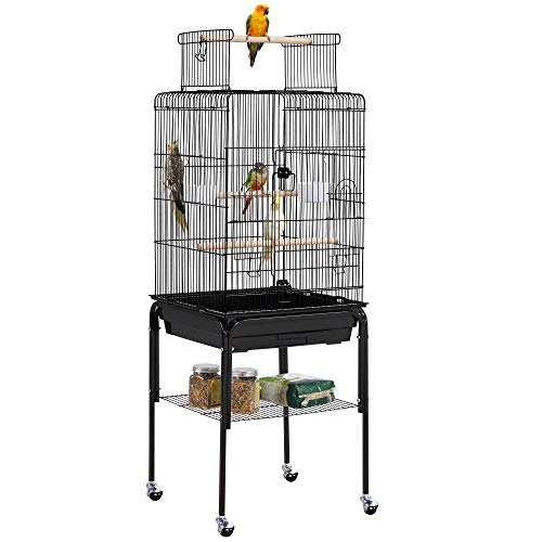 Yaheetech 136cm Rolling Large Bird Cage with Open Play Top Parrot Cage for...