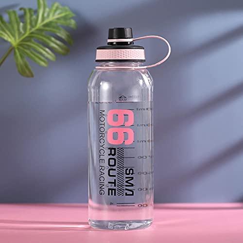 Botella de Deportiva-Motivacional, Antigoteo -para Niños, Colegio, Escolar, Gym, Oficina -Rosa_1500ml
