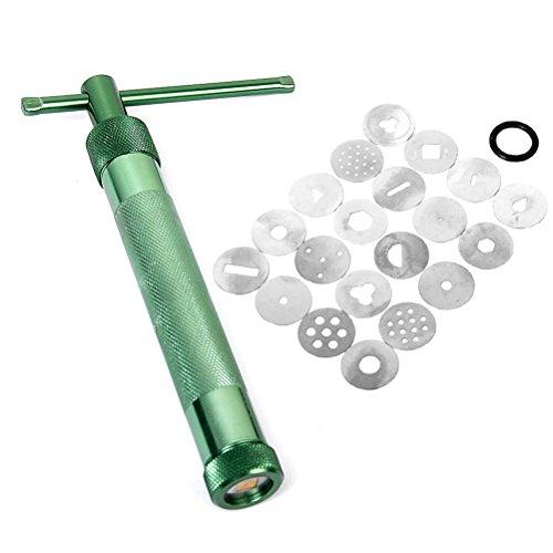 Portátil VORCOOL Sculpey para modelar arcilla de polimérica extrusora pistola de herramientas con 20 discos intercambiables (verde)