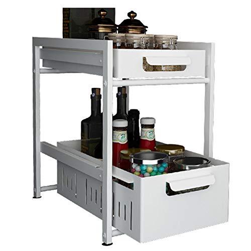 Especiero Extensible 2 Niveles Cocina Organizador Spice Rack Organizador Desmontables Estante Especias Cajones Lavabo Cocina Para Almacenamiento Baño Dormitorio Cocina Superficie,Blanco