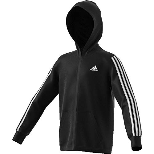 adidas Jungen 3-Streifen Full Zip Hoody, Black/White, 164