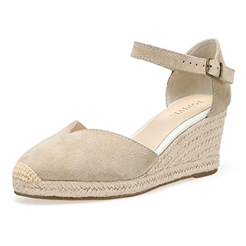 SHOULIEER 2021 Knöchel-Wrap Sandalen Keilabsatzschuhe für geschlossene Zehenkeile Damen 7cm V Beige 8
