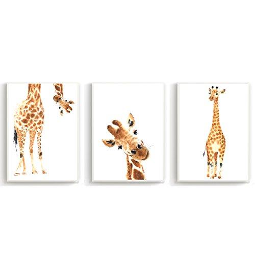 Wandposter für Kinderzimmer, Babyzimmer Poster, Wandbild, Wanddruck Kinder (DIN A4 3er-Set) Giraffe