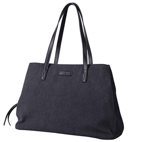 Eva & Evan® Design Damen Schultertasche Canvas Shopper Groß Tote Handtasche 46 x 21 x 30cm für Einkäufe Reise Schule usw. (Schwarz)